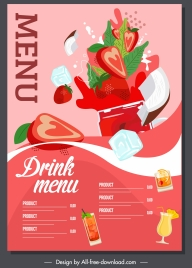 drink menu template splashing dynamic design strawberry sketch