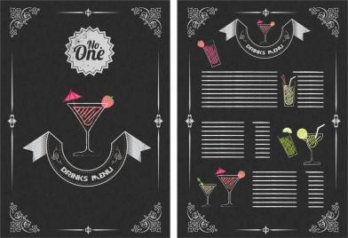 drinks menu design vintage style on dark background
