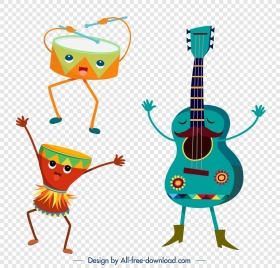 drum guitar instruments icons cute stylized design