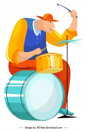 drummer icon cartoon character sketch colorful design