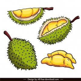 durian icons retro handdrawn sketch