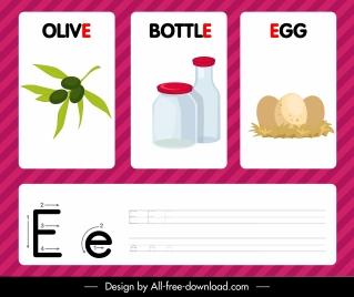 e alphabet studying banner olive bottle egg sketch