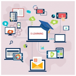 e learning concept design with infographic style