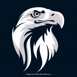 eagle head icon contrasted design black white handdrawn