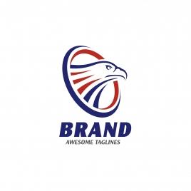 eagle heads with circle logo creative falcon head logotype with ellipse eagle head illustration