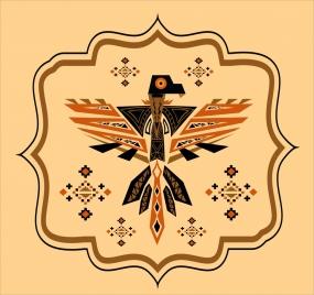 eagle icon geometric tribal style colored flat decoration