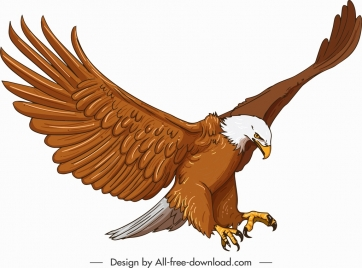 eagle icon hunting posture sketch cartoon character design