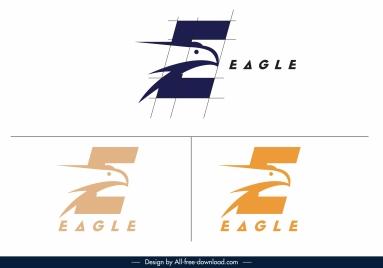 eagle logo templates flat handdrawn text sketch