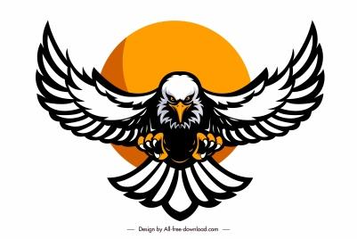 eagle logotype powerful flying sketch symmetric handdrawn design