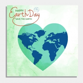 earth day background green heart shape continental icon