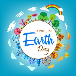 earth day banner circle decoration tree icons