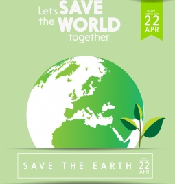 earth day banner green globe tiny plant icons