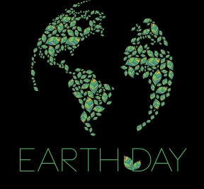 earth day banner green leaves layout dark design