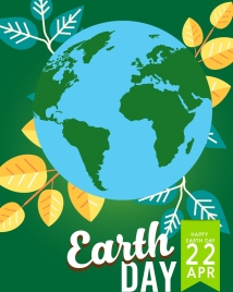 earth day banner leaves earth icon flat design
