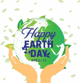 earth day banner leaves hand green globe icons