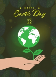 earth day banner sparkling shining globe hand icons