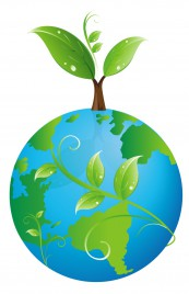 earth with sprouting leaves