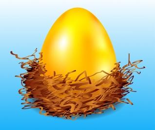 easter background shiny golden egg icon decoration