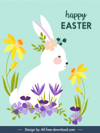 easter banner template flat rabbit flowers colorful classic