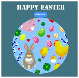 easter card template illustration with symbols in round