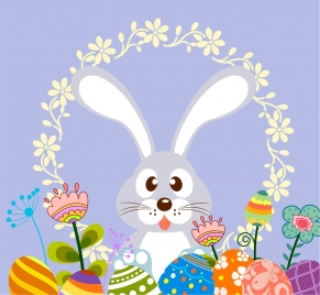 easter decorative background cute bunny colorful eggs icons
