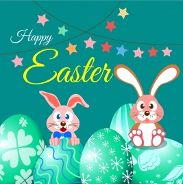 easter poster cute bunny green eggs stars decoration