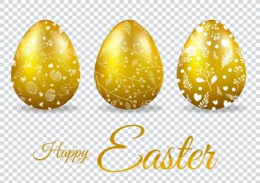 easter poster shiny golden eggs decoration