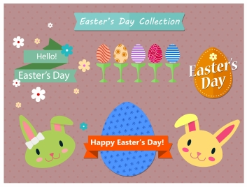 easters icons collection illustration with various shapes