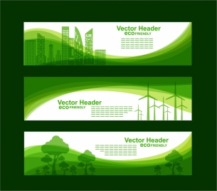 eco banner sets green city tree curves style