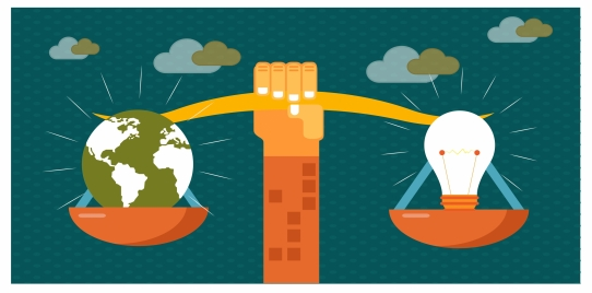 eco banner vector illustration with balance beam
