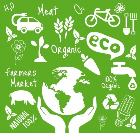 eco design elements various white silhouette symbols