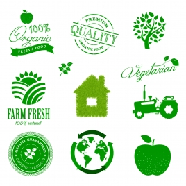 eco green icons set