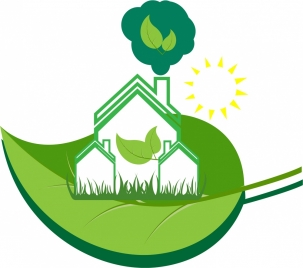 eco home banner green leaf and white house