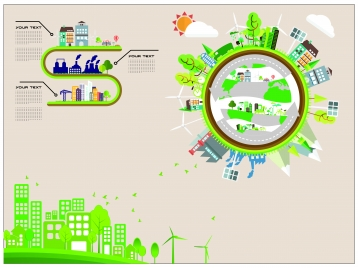 eco infographic design with green city and circle