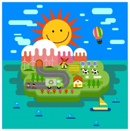 eco island concept with cartoon style illustration