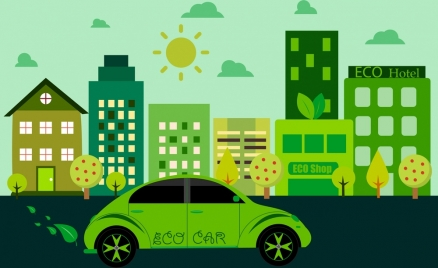 eco life concept green city decoration