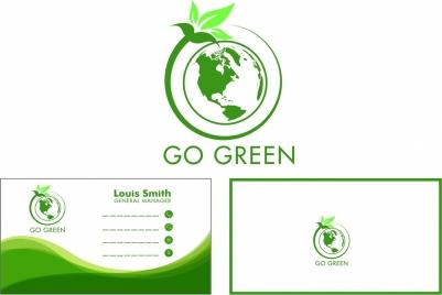 eco name card design green globe leaf style
