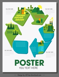 eco poster template environment elements recycle arrow sketch