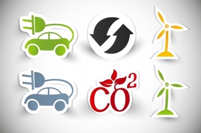 eco saving icons design with sticker style
