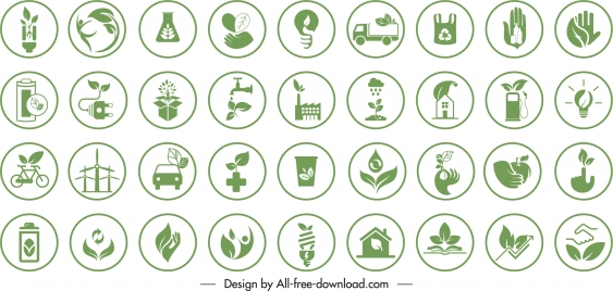 eco signs templates collection flat green symbols sketch