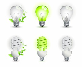 Ecological lightbulbs icon set