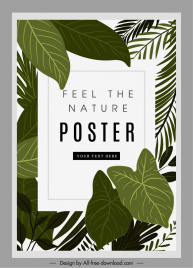 ecological poster template classic green leaves decor