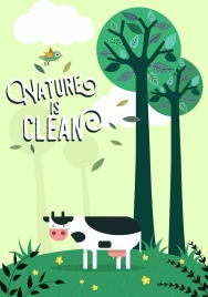 ecology banner cow bird green trees icons decoration