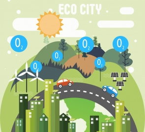 ecology city background hill buildings car road icons