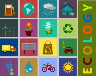 ecology design elements various flat icons squares isolation