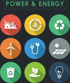 ecology design elements various flat symbols circles isolation
