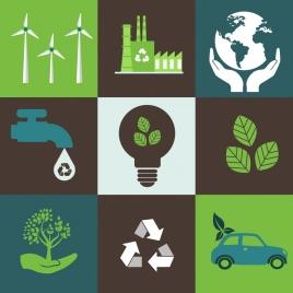 ecology design elements various flat symbols square isolation