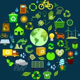 ecology environment design elements various colored symbols