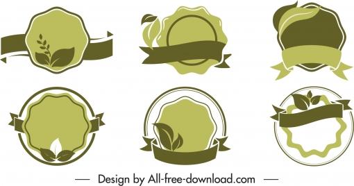 ecology label templates retro flat dark green shapes