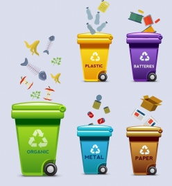 ecology poster multicolored dustbins wastes icons decoration